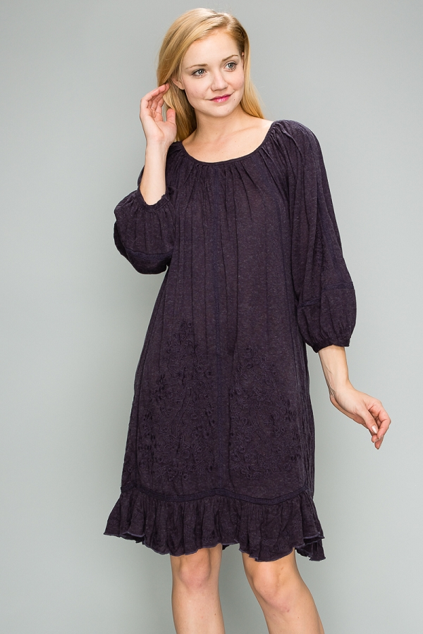 Oversize Embroidered Tunic Dress